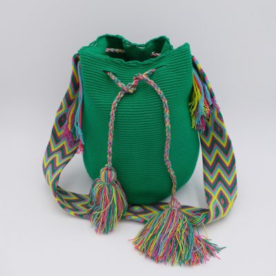 Green ethnic shoulder bag handmade in Colombia