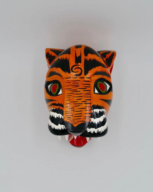 Wood wall decoration absolutely unique, an orange tiger handcrafted in Colombia