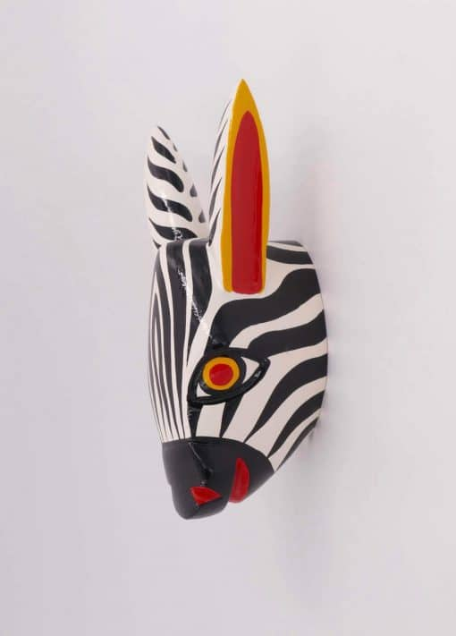 Wooden animal head handcrafted in Colombia - Zebra head
