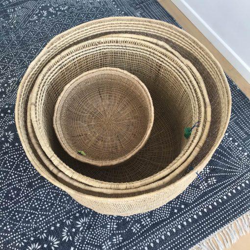 Round storage baskets for home decoration