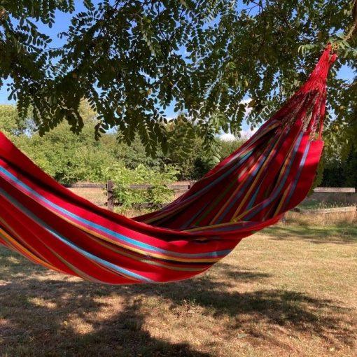 Beautiful red hanging hammock