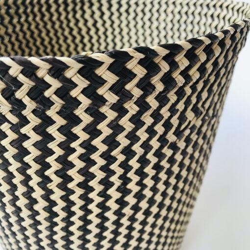 black herringbone basket