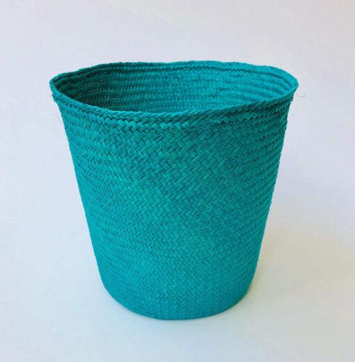 Turquoise palm leaf basket